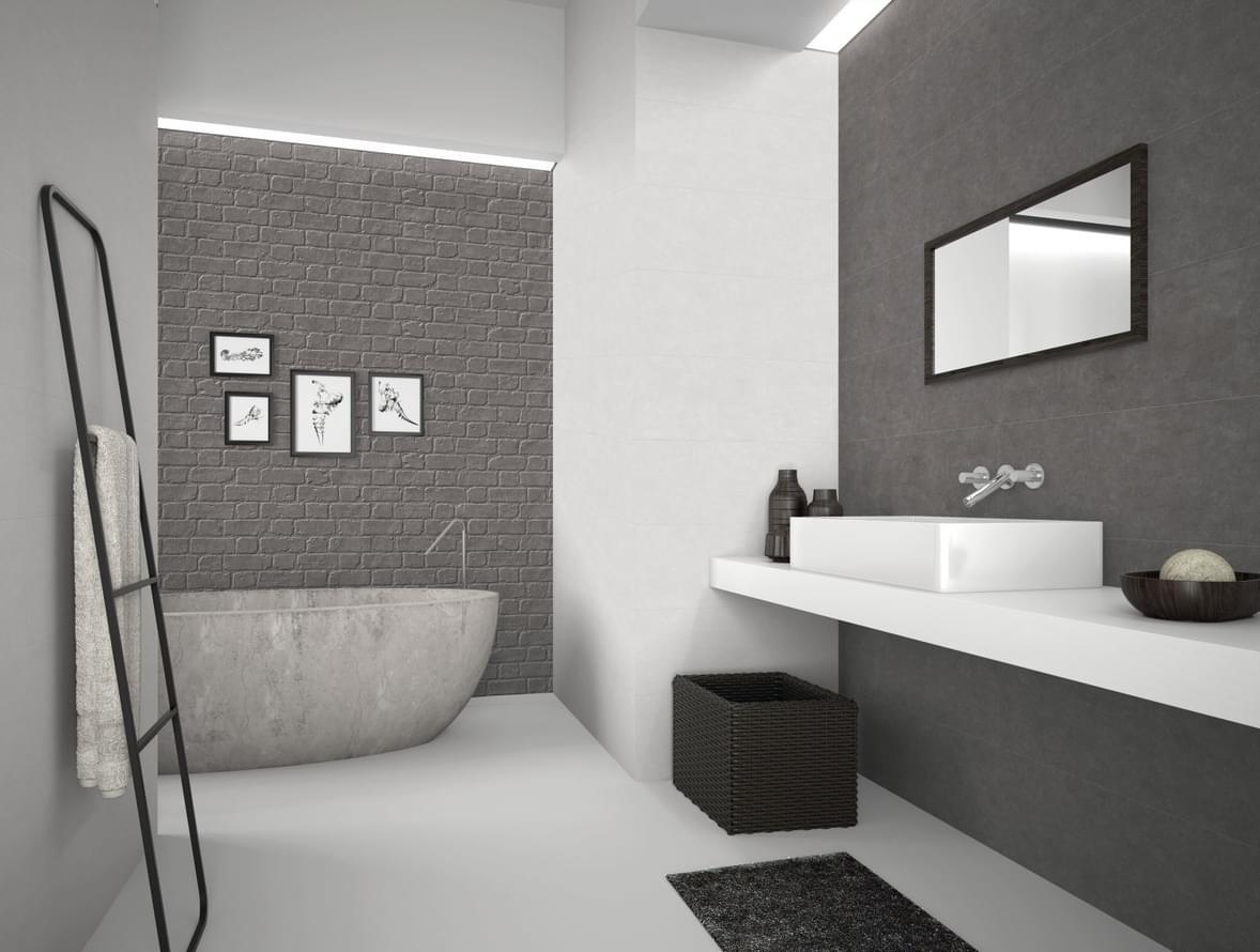 Cuarto de baño con combinación de microcemento en paredes y suelos