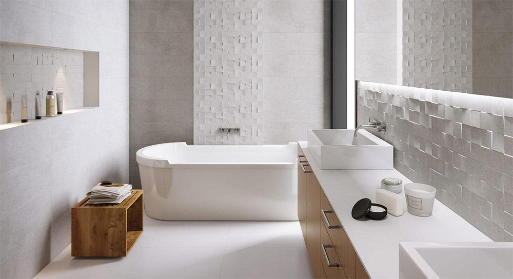 Urban Bath | Azulejos con Textura Piedra Blanca | Especial Baños Pequeños | Tendencias Reformas 2019 | Drékaro