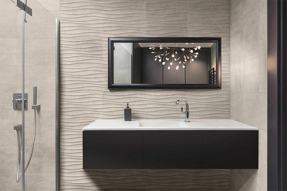 Urban Bath | Azulejos con Textura Piedra Gris | Especial Baños Pequeños | Tendencias Reformas 2019 | Drékaro