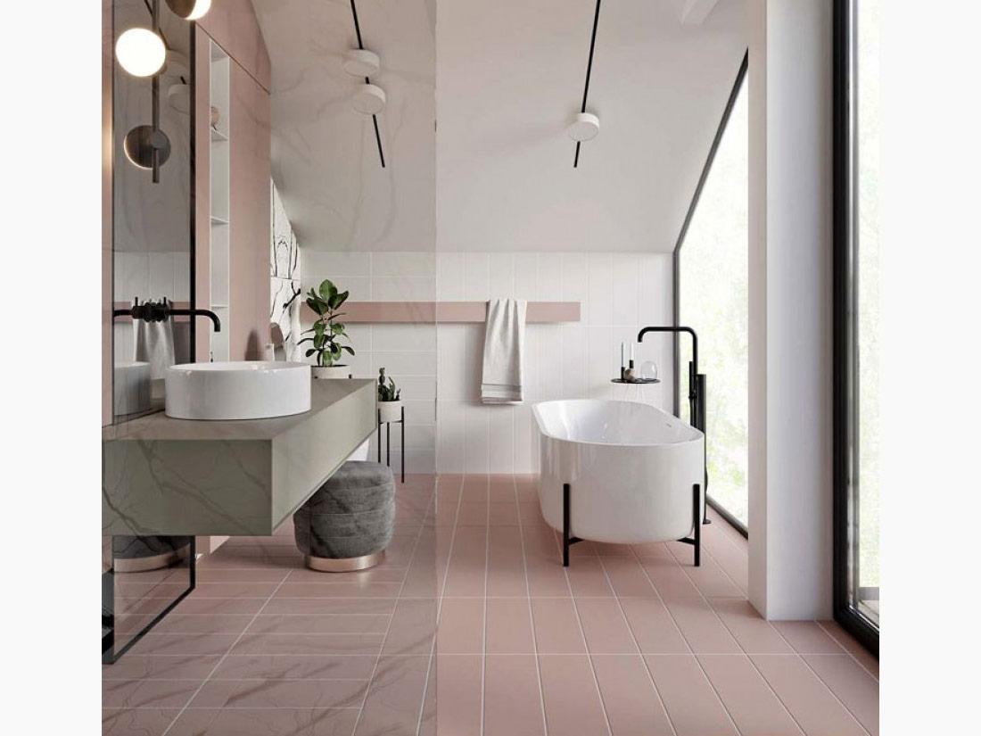 Urban Bath | Color Blanco y Coral | Especial Baños Pequeños | Tendencias Reformas 2019 | Drékaro