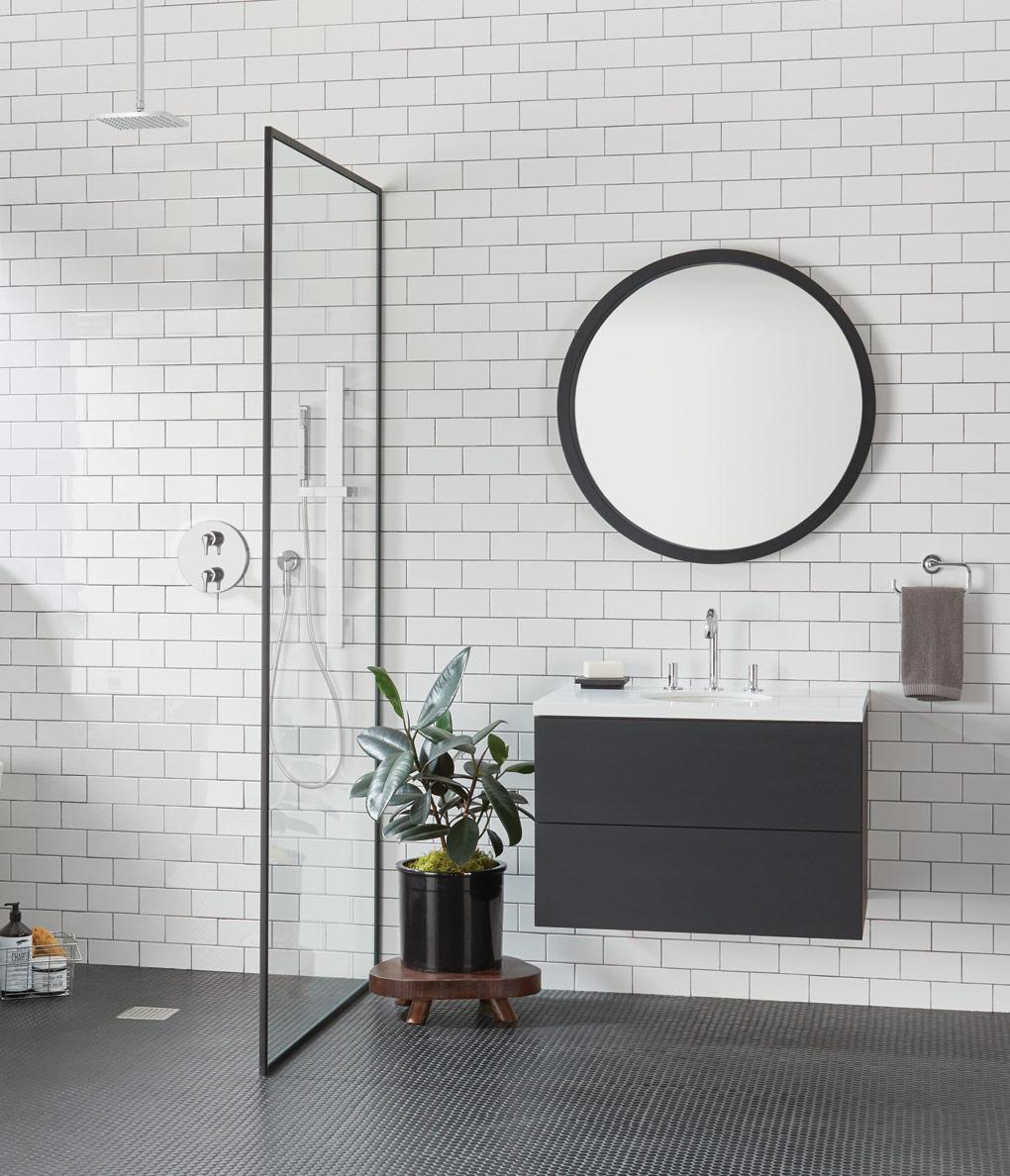 Urban Bath | Espejo Redondo con marco negro | Especial Baños Pequeños | Tendencias Reformas 2019 | Drékaro